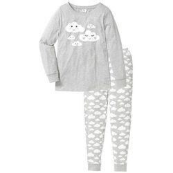 Piżama, bawełna organiczna bonprix jasnoszary melanż - biały z nadrukiem
