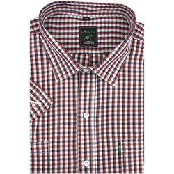 Duża Koszula Męska Laviino czerwona w kratkę na krótki rękaw duże rozmiary K923