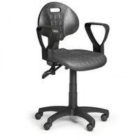 Fotele i krzesła biurowe, Krzesło PUR z podłokietnikami, asynchroniczna mechanika, do miękkich podłóg
