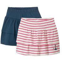 Spódniczki dziecięce, Spódnica z dżerseju bonprix ciemnoniebiesko-biel wełny + czerwony w paski