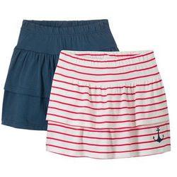 Spódnica z dżerseju bonprix ciemnoniebiesko-biel wełny + czerwony w paski