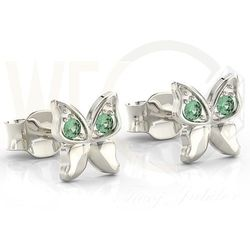 Kolczyki motylki z białego złota z zielonymi cyrkoniami BPK-88B-C - Białe