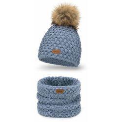 Komplet PaMaMi, czapka i komin - Jeansowy