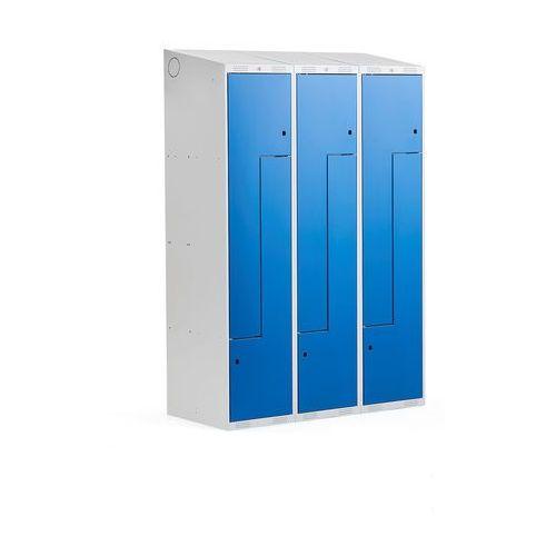 Szafki do przebieralni, Szafka ubraniowa typu Z, CLASSIC, 3 moduły, 6 drzwi, 1900x1200x550 mm, niebieski