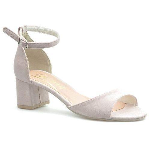 Sandały damskie, Sandały For-But 155 Pudrowe zamsz