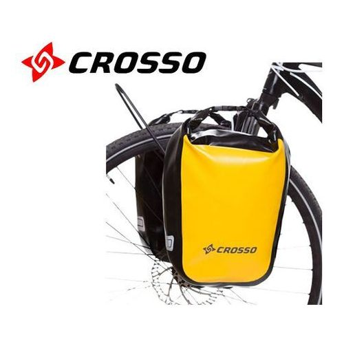 Sakwy, torby i plecaki rowerowe, CO1010.30.87 Sakwy rowerowe Crosso DRY SMALL 30l Żółte zestaw na tył / przód