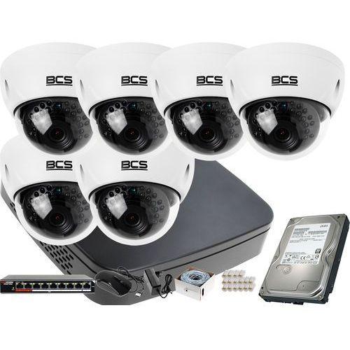 Zestawy monitoringowe, 6x BCS-DMIP3200IR-E-IV R zestaw monitoringu BCS-NVR08015ME-II Dysk 1TB Akcesoria