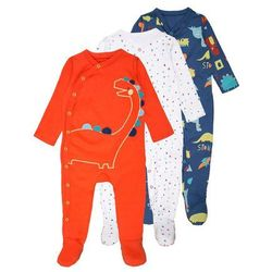 mothercare BOYS DINO SLEEPSUIT BABY 3 PACK Piżama brights multicolor