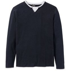 Sweter w optyce 2 w 1 z bawełny z recyklingu bonprix ciemnoniebieski