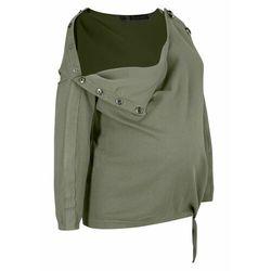 Sweter ciążowy i do karmienia piersią, z ozdobnym przewiązaniem bonprix oliwkowy