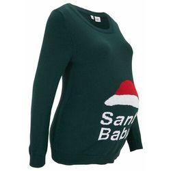 Sweter ciążowy z bożonarodzeniowym motywem bonprix głęboki zielony