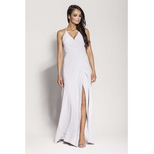 Suknie i sukienki, Popielata Elegancka Długa Sukienka Wiązana na Szyi