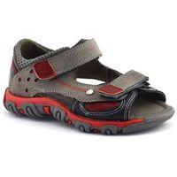 Sandały dziecięce, Sandały dla dzieci Kornecki 06189 - Czerwony ||Szary