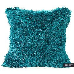 SELSEY Poszewka na poduszkę Irmanik 50x50 cm z frędzlami turkusowa