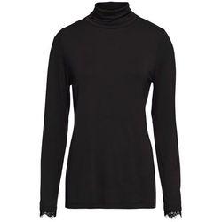 Shirt z golfem i koronką bonprix czarny