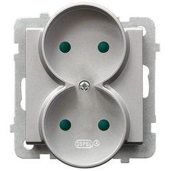 Gniazdo 2x2P z przesłonami torów srebro mat GP-2RRP/m/38 SONATA