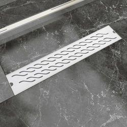 vidaXL Kratka odpływowa, liniowa, 630x140 mm, wzór fali, stal nierdzewna Darmowa wysyłka i zwroty