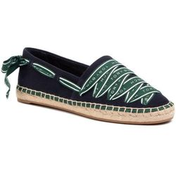 Espadryle TORY BURCH - Logo Grosgrain Espadrille 61318 Perfect Navy/Malachite 418