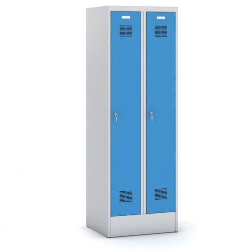 Szafki do przebieralni, Metalowa szafka ubraniowa, niebieskie drzwi, zamek obrotowy