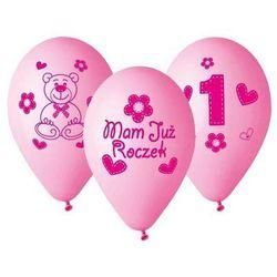 """Balony z nadrukiem dla dziewczynki """"Mam już roczek"""" - 30 cm - 5 szt."""