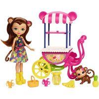 Lalki dla dzieci, Mattel ENCHANTIMALS Lalka + Wózek z owocami
