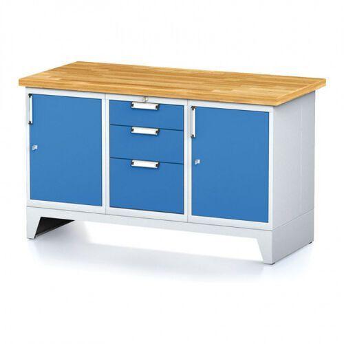 Stoły warsztatowe, Stół warsztatowy MECHANIC, 1500x700x880 mm, 1x 3 szufladowy kontener, 2x szafka, szara/niebieska