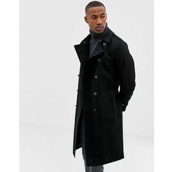 ASOS DESIGN shower resistant longline trench coat with belt in black - Black
