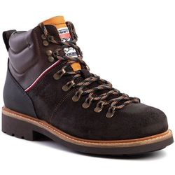 Trapery TOMMY HILFIGER - Suede Material Mix Hiking Boot FM0FM02589 Chocolate HJT