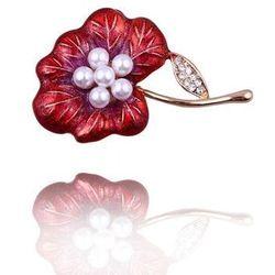 Broszka damska czerwony kwiat z perełkami i cyrkoniami - czerwony ||biały
