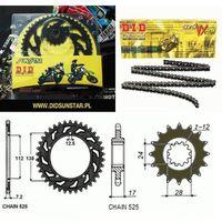 Pozostałe części układu napędowego motocykla, ZESTAW NAPĘDOWY DID525VX ZĘBATKI SUNSTAR HORNET 600 98-06r. ZESTAW-HORNET98-06
