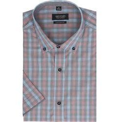 koszula bexley 2303 krótki rękaw custom fit czerwony