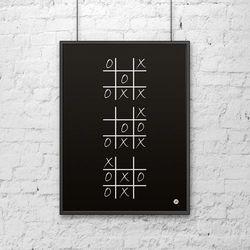 Plakat dekoracyjny 50x70 cm KÓŁKO I KRZYŻYK czarny by DekoSign
