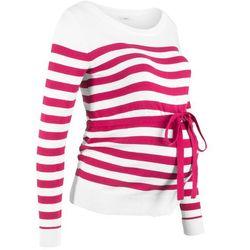Sweter ciążowy bawełniany bonprix jeżynowo-czerwono-biały w paski