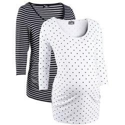 Shirt ciążowy z nadrukiem (2 szt.), rękawy 3/4, bawełna organiczna bonprix biały w groszki + w paski