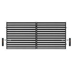 Brama dwuskrzydłowa Polbram Steel Group Lara 2 automatyczna 350 x 154 cm czarna