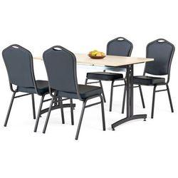 Zestaw do stółówki, stół 1200x800 mm, brzoza + 4 krzesła czarna eko-skóra/czarny