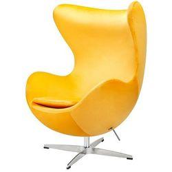 Fotel inspirowany EGG CLASSIC VELVET żółty - welur, podstawa chromowana