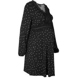 Sukienka ciążowa shirtowa z koronką i nadrukiem w kropki bonprix czarno-kremowy