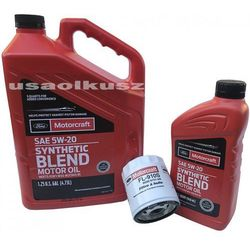 Oryginalny filtr oraz syntetyczny olej silnikowy Motorcraft 5W20 Ford Kuga 2,5 Duratec