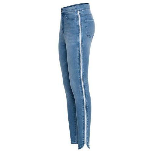 """Spodnie damskie, Dżinsy Super Skinny w krótszej długości, z połyskującym paskiem bonprix niebieski """"bleached"""""""
