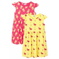 Sukienka letnia dziewczęca (2 szt.) bonprix jasna limonka - różowy hibiskus