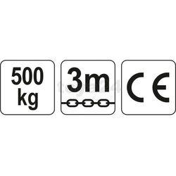 WCIĄGNIK ŁAŃCUCHOWY 0,5 T, ŁAŃCUCH 3 M. Yato YT-58950 - ZYSKAJ RABAT 30 ZŁ