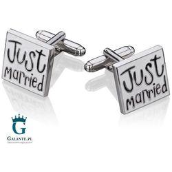 Spinki do mankietów Just Married dla Pana Młodego Ślub i Wesele SH-1000