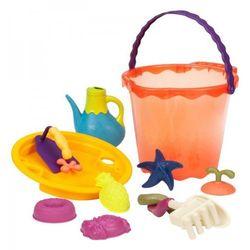Duże wiaderko z kompletem zabawek do piasku - pomarańczowe