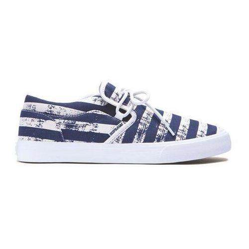 Męskie obuwie sportowe, buty SUPRA - Cuba Navy Stripe-White (NST) rozmiar: 44.5