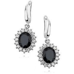 Eleganckie rodowane srebrne kolczyki z czarnymi cyrkoniami srebro 925 Z0685E_B