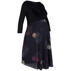 Sukienka shirtowa ciążowa i do karmienia piersią, kopertowa bonprix czarny