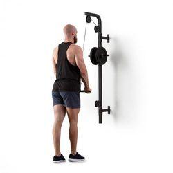 KLARFIT Hangman wyciąg górny do ściany 100kg 2,5m kabel sztanga do treningu tricepsów czarny