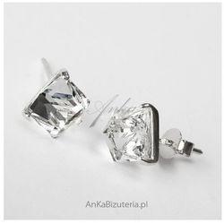 ankabizuteria.pl Srebrne kolczyki z kryształem górskim małe kwadraciki