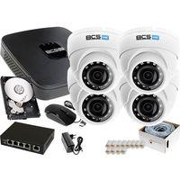 Zestawy monitoringowe, Zestaw do monitoringu: Rejestrator BCS-NVR08015ME-II + 4x Kamera BCS-DMIP1200IR-E + 1TB